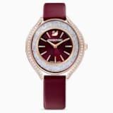 Ρολόι Crystalline Aura, δερμάτινο λουράκι, κόκκινο, PVD σε χρυσή-ροζ απόχρωση - Swarovski, 5558637
