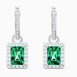 Angelic Rectangular Pierced Earrings, Green, Rhodium plated - Swarovski, 5559834