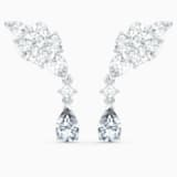 Tennis Deluxe Cluster Mixed Pierced Earrings, White, Rhodium plated - Swarovski, 5562086