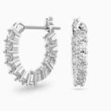 Μίνι τρυπητά σκουλαρίκια κρίκοι Vittore, λευκά, επιροδιωμένα - Swarovski, 5562126