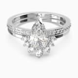 Sada prstenu Attract Pear, bílá, rhodiovaná - Swarovski, 5563122