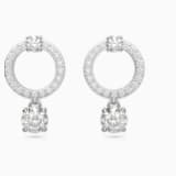 Attract Circle Pierced Earrings, White, Rhodium plated - Swarovski, 5563278