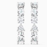 Tennis Deluxe Mixed Pierced Earrings, White, Rhodium plated - Swarovski, 5563322