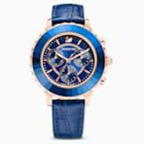 Ρολόι Octea Lux Chrono, δερμάτινο λουράκι, μπλε, PVD σε χρυσή-ροζ απόχρωση - Swarovski, 5563480