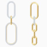 Τρυπητά σκουλαρίκια Time, λευκά, μικτό μεταλλικό φινίρισμα - Swarovski, 5566004