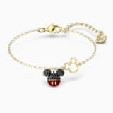 Mickey Bracelet, Black, Gold-tone plated - Swarovski, 5566689