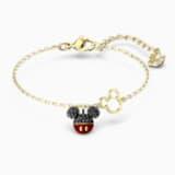Mickey 手鏈, 黑色, 鍍金色色調 - Swarovski, 5566689