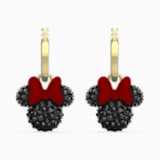 Minnie Hoop Pierced Earrings, Black, Gold-tone plated - Swarovski, 5566692