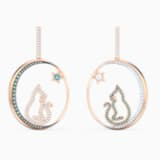 Cattitude Hoop Pierced Earrings, Green, Mixed metal finish - Swarovski, 5566724