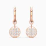 Ginger Mini Hoop Pierced Earrings, White, Rose-gold tone plated - Swarovski, 5567528