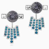 Karl Lagerfeld 穿孔耳環花托, 藍色, 鍍鈀色 - Swarovski, 5568601