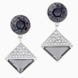 Pendientes Karl Lagerfeld Geometric, gris, baño de paladio - Swarovski, 5568613