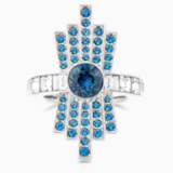 Karl Lagerfeld Cocktail Ring, Blue, Palladium plated - Swarovski, 5568619