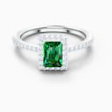 Ορθογώνιο δαχτυλίδι Angelic, πράσινο, επιροδιωμένο - Swarovski, 5572659