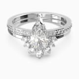 Attract Pear Ring Set, White, Rhodium plated - Swarovski, 5572660