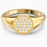 Ginger Signet 戒指, 白色, 鍍金色色調 - Swarovski, 5572697