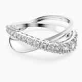 Twist Rows Ring, White, Rhodium plated - Swarovski, 5572716
