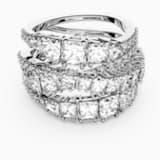 Twist Wrap Ring, White, Rhodium plated - Swarovski, 5580952