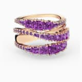 Twist Wrap Ring, Purple, Rose-gold tone plated - Swarovski, 5584647