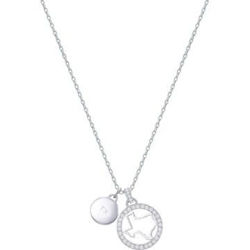 스와로브스키 목걸이 Swarovski Lena Texas Pendant, White, Rhodium plating
