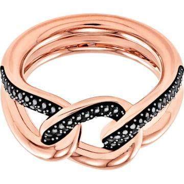스와로브스키 반지 Swarovski Lane Motif Ring, Black, Rose-gold tone plated