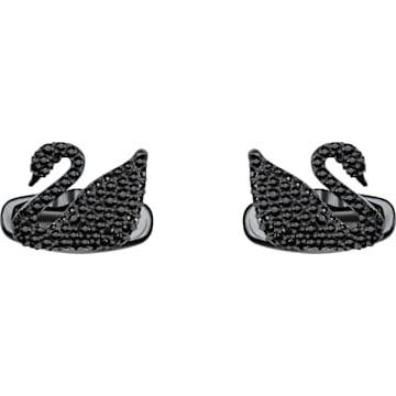 Gemelli Swan, nero, Placcatura in PVD nero - Swarovski, 5427129