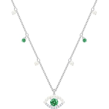 Luckily Necklace, Green, Rhodium plated