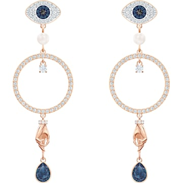 bfca73000 Swarovski Symbolic Hoop Pierced Earrings, Multi-colored, Rose-gold tone  plated