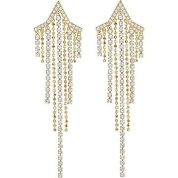 스와로브스키 귀걸이 Swarovski Fit Star Pierced Tassell Earrings, White, Gold-tone plated