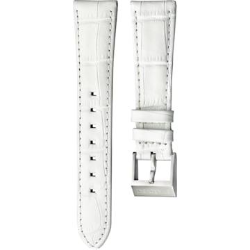 Cinturino per orologio 18mm, pelle con impunture, bianco, acciaio inossidabile - Swarovski, 5222593