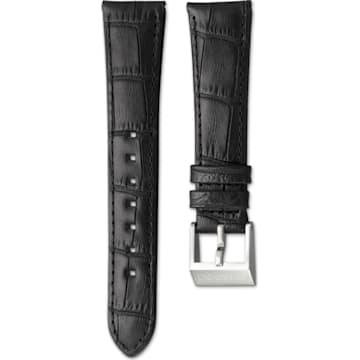 Cinturino per orologio 14mm, pelle con impunture, marrone scuro, acciaio inossidabile - Swarovski, 5263534