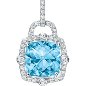 同心锁18K粉蓝托帕石 (热熔)钻石链坠 - Swarovski, 5468516