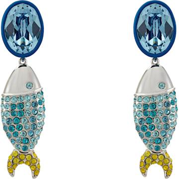 Mustique Sea Life Fish Clip Earrings, Blue, Palladium plated - Swarovski, 5533738