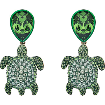 Mustique Sea Life Turtle Clip Earrings, Green, Gold-tone plated - Swarovski, 5533766