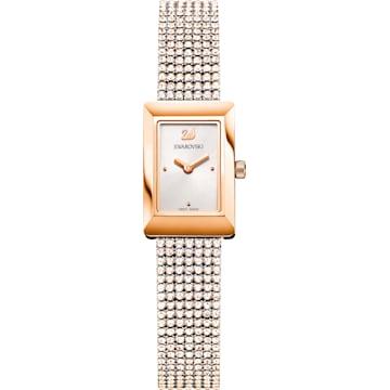 스와로브스키 Swarovski Memories Watch, Crystal Mesh strap, White, Rose-gold tone PVD