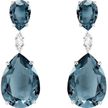 c27f85c4a374f Baron Pierced Earrings, Blue, Rhodium plated | Swarovski.com