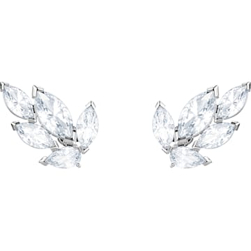 f78adc4d031a0 Louison Stud Pierced Earrings, White, Rhodium plated