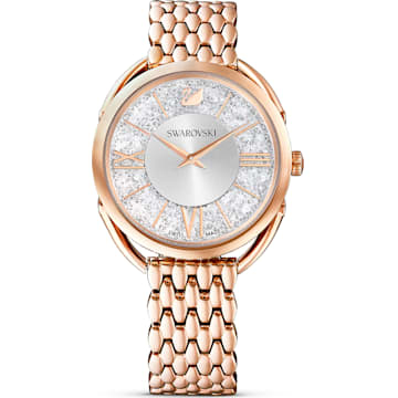 스와로브스키 크리스탈라인 글램 손목시계  Swarovski Crystalline Glam Watch, Metal bracelet, White, Rose-gold tone PVD