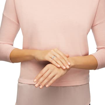 Prsten Rare, bílý, rhodiovaný - Swarovski, 1121066