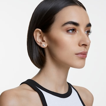 Solitaire bedugós fülbevaló, fehér, ródium bevonattal - Swarovski, 1800046