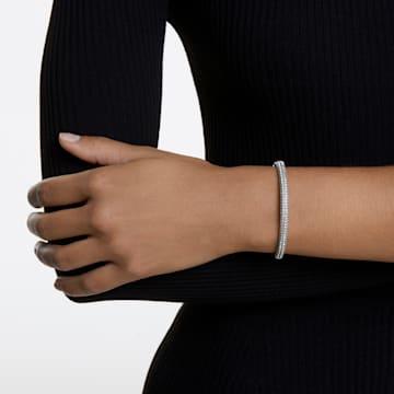 Stone Жёсткий браслет, Белый кристалл, Родиевое покрытие - Swarovski, 5032845