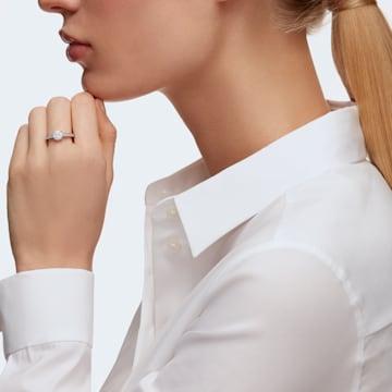 Attract Round 戒指, 白色, 鍍白金色 - Swarovski, 5032922