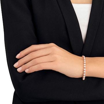 Tennis Bracelet, White, Rose-gold tone plated - Swarovski, 5039938