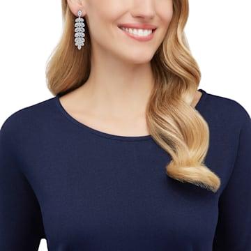 Baron 穿孔耳環, 藍色, 鍍白金色 - Swarovski, 5074350
