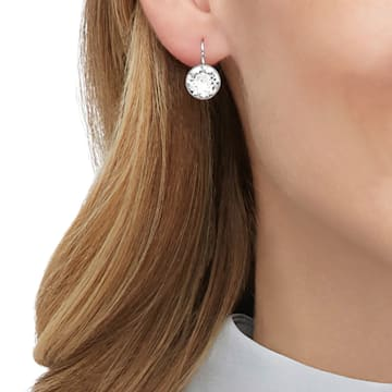 Bella Earrings, White, Rhodium plated - Swarovski, 5085608