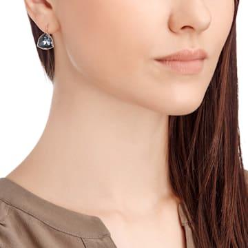 Brief Pierced Earrings, Grey, Rose gold plating - Swarovski, 5098376