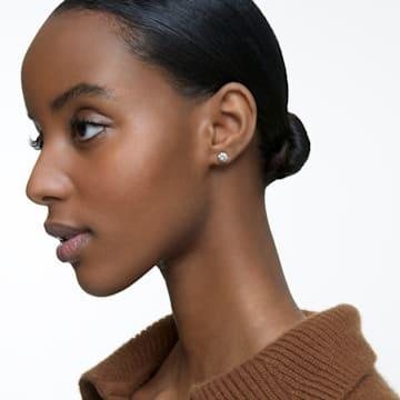 Kolczyki sztyftowe Solitaire, białe, w odcieniu różowego złota - Swarovski, 5112156