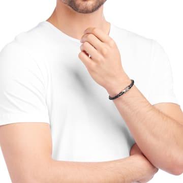 Cross Signature 手链, 皮革, 黑色, 镀玫瑰金色调 - Swarovski, 5115156
