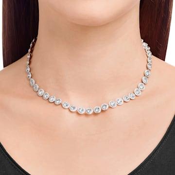 Angelic 项链, 圆形切割, 白色, 镀铑 - Swarovski, 5117703
