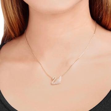 Swan Halskette, weiss, Rosé vergoldet - Swarovski, 5121597